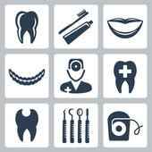 Vector isolated dental icons set — Stock Vector