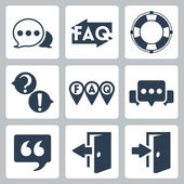 Vector isolated faq and info icons set — Stock Vector