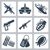 Vector isolated war icons set — Stock Vector