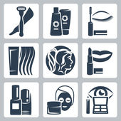 Wektor zestaw ikon na białym tle kosmetologii — Wektor stockowy