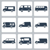 Vector vans (side view) icons set — Stock Vector