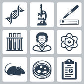 Vector isolated laboratory icons set — Stock Vector