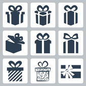 Vector isolated gift, present icons set — Stock Vector