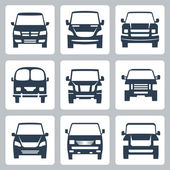 Vector van icons set: front view — Stock Vector