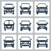 Vector van icons set: front view — Stock Vector