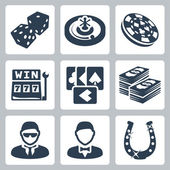 Vector isolated casino and gambling icons set — Stock Vector