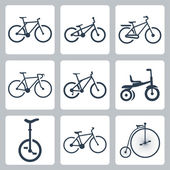 Vector isolated bicycles icons set — Stock Vector