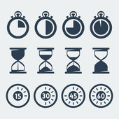 Vector isolated timers icons set — Stock Vector