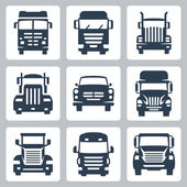 Vector isolated trucks icons set: front view — Stock Vector