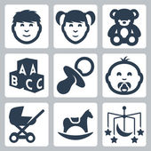Vector isolated 'kids' icons set: boy, girl, teddy bear, bricks, baby's dummy, baby, baby carriage, rocking horse, crib mobile — Stock Vector