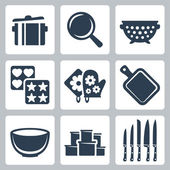 Vector isolated kitchenware icons set: pot, frying pan, colander, baking mould, potholder, cutting board, bowl, containers, knives — Stock Vector