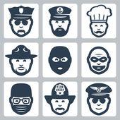 Vector profession icons set: police officer, captain, chef, ranger, anti-terrorist, robber, surgeon, fireman, pilot — Stock Vector