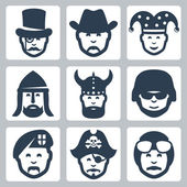 Vector profession icons set: magician, cowboy, jester, knight, viking, soldier, paratrooper, pirate, pilot — Vector de stock