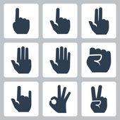 Vector hands icons set: finger counting, stop gesture, fist, devil horns gesture, okay gesture, v sign — Stock Vector