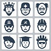 Vector profession icons set: king, doctor, scientist, trucker, repairman, builder, artist, graduating student, cyclist — Stock Vector