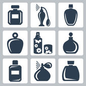 Vector isolated perfume bottles icons set — Stock Vector