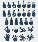Vector touch screen gestures icons: tap, press and hold, swipe, spread, pinch, rotate — Stock Vector