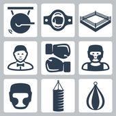 Vector boxing icons set: gong, belt, ring, referee, boxing gloves, boxer, boxing helmet, punching bag — Vector de stock
