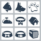 Vector pet icons set: cat, dog, pawprint, mouse, collar, kennel, bowls, cage — Stock Vector
