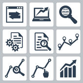 Vector data analysis icons set — Stock Vector