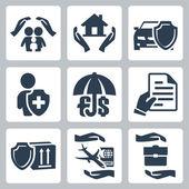 Vector insurance icons set: family insurance, home insurance,auto insurance, life insurance, deposit insurance, insurance policy, insurance of goods, travel insurance, business risk insurance — Stock Vector
