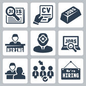 Vector job hunting, job search, human resources icons set — Stock Vector