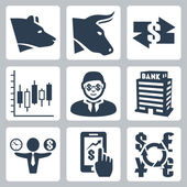 Vector money, stock exchange icons set — Stock Vector