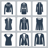 Vector women's clothes icons set: jacket, overcoat, down-padded coat, vest, sweatshirt, blouse, top, suit jacket, jumper — Stock Vector