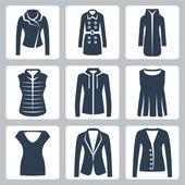 Vector women's clothes icons set: jacket, overcoat, down-padded coat, vest, sweatshirt, blouse, top, suit jacket, jumper — Stock Vector