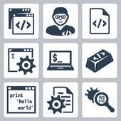 Vector programming and software development icons set — Stock Vector