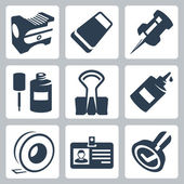 Vector office stationery icons set: pencil sharpener, eraser, push pin, correction fluid, clip, glue, sticky tape, identity tag, stamp — Stock Vector