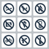 "Vector ""prohibitory signs"" icons set: no smoking, no dogs, no fire, no cameras, no icecream, no cell phones, no bicycles, no guns, no alcohol — Stock Vector"