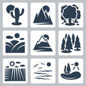 Vector nature icons set: desert, mountains, forest, meadow, snow-covered mountains, conifer forest, field, sea, lake — Stock Vector