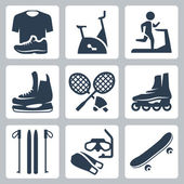 Vector sports goods icons set: sportswear, stationary bicycle, treadmill, skates, rackets and shuttlecock, roller skates, skis, diving mask and flippers, skateboard — Stock Vector