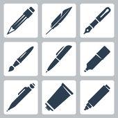 Vecteur écriture et peinture ensemble d'icônes outils : crayon, plume, stylo plume, pinceau, stylo, marqueur, crayon mécanique, tube de peinture — Vecteur