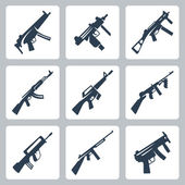 Vector machine guns and assault rifles icons set — Stockvektor