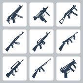 Vector machine guns and assault rifles icons set — Stockvektor