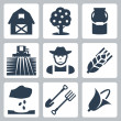 Vector farming icons set — Stok Vektör