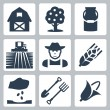 Vector farming icons set — Stock Vector