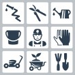 Vector gardening icons set — Stock vektor