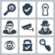 Vector spy and security icons set: magnifying glass, shield, heyhole, security man, surveillance camera, spy, eye, lock — Stock Vector