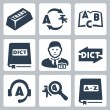 Stock Vector: Vector translation and dictionary icons set