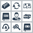 Vector translation and dictionary icons set — Stockvektor #35049857
