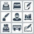 Vector writer icons set — Vettoriali Stock