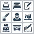 Vector writer icons set — Stockvectorbeeld