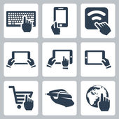 Vector hands and technology icons set — Stock Vector