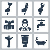 Vector plumbing icons set — Stock Vector
