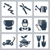 Vector gardening icons set — Stock Vector