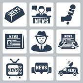Vector news and journalism icons set — Stock Vector
