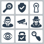 Vector spy and security icons set: magnifying glass, shield, heyhole, security man, surveillance camera, spy, eye, lock — 图库矢量图片